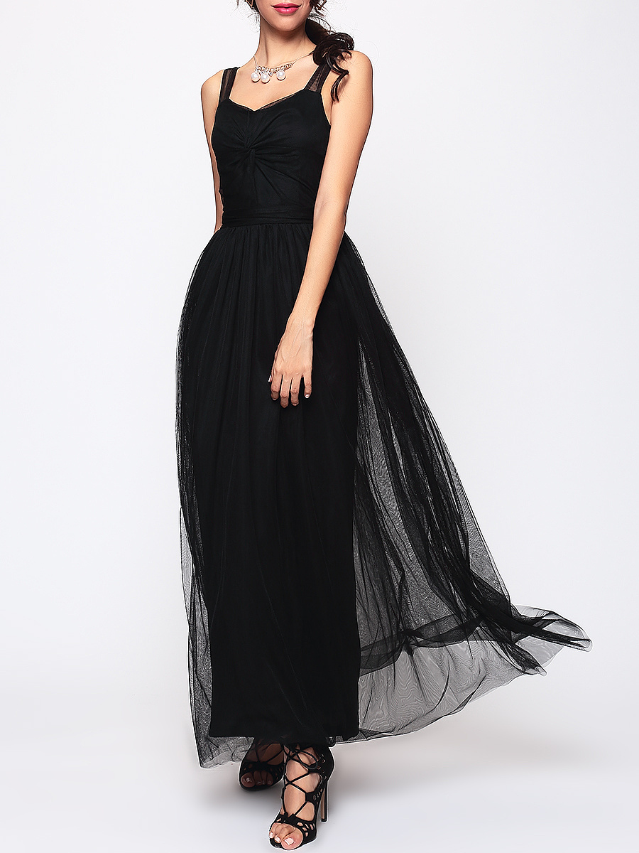 Gauze Hollow Out Plain Evening Dress
