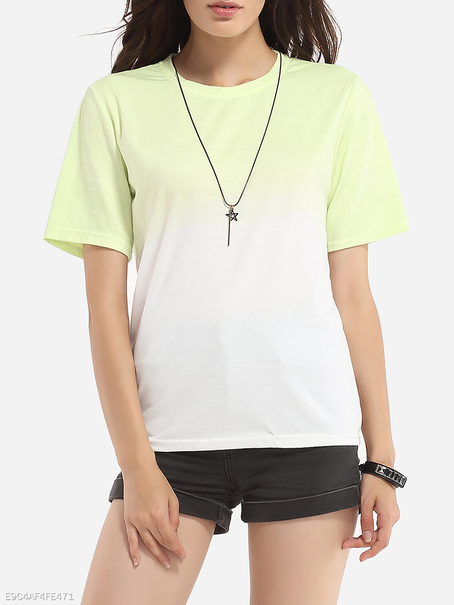 Round Neck Assorted Colors Short Sleeve T-shirt