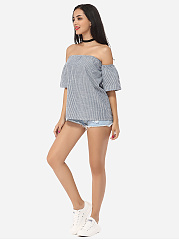 Striped Lovely Off Shoulder Short-sleeve-t-shirt