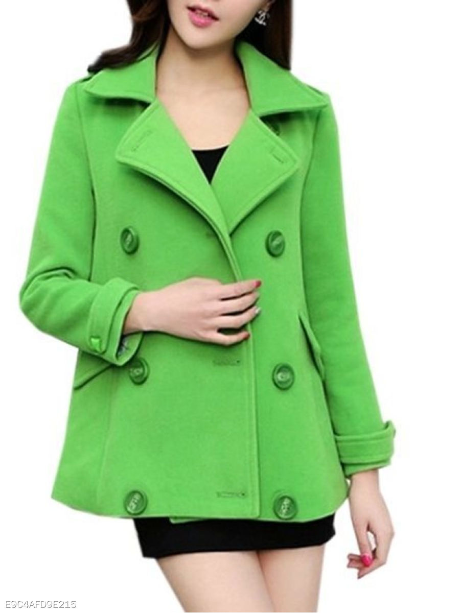 Plain Breasted Attractive Small Lapel Overcoats