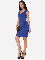 V Neck Dacron Plain Bodycon-dress