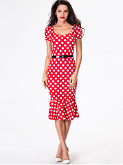 Sweet Heart Polka Dot Mermaid Bodycon-Dress