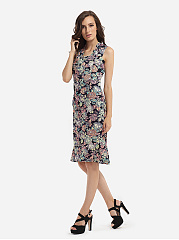 Mermaid Square Neck Dacron Assorted Colors Floral Printed Bodycon-dress
