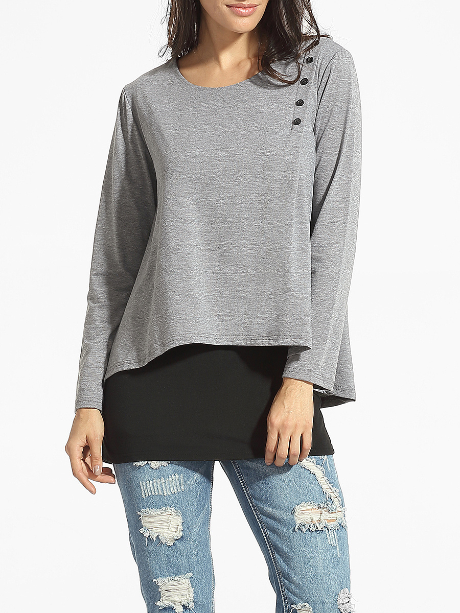 Round Neck Single Breasted Patchwork Long-sleeve-t-shirt