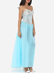 Strapless Paillette Tube Dacron Patchwork Evening-dress