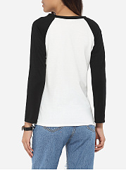 Round Neck Cotton Color Block Printed Long-sleeve-t-shirt