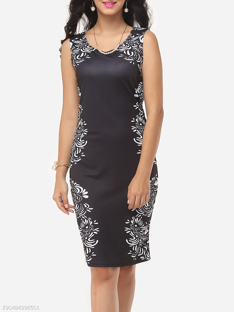 Printed Courtly V Neck Bodycon-dress