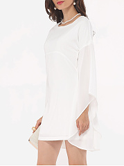 Plain Mandarin Sleeve Chic Round Neck Bodycon-dress