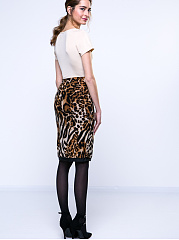 Leopard Patchwork Round Neck Bodycon Dress