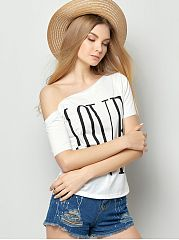 Spring Summer  Cotton  Women  Open Shoulder  Love Letters Short Sleeve T-Shirts