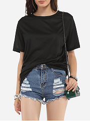 Crew Neck Cotton Letter Short-sleeve-t-shirt