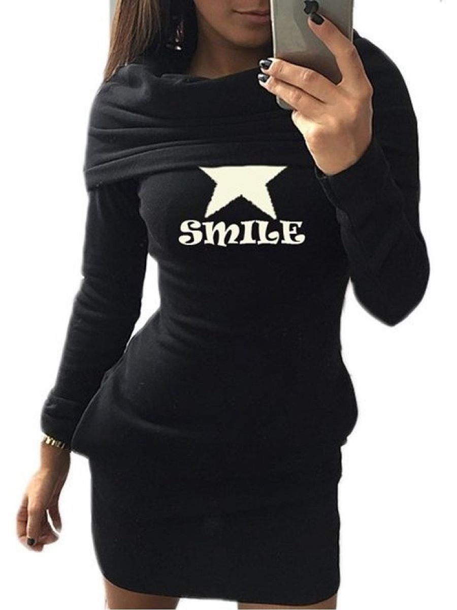 Star Letter Printed Stylish Hooded Hoodies