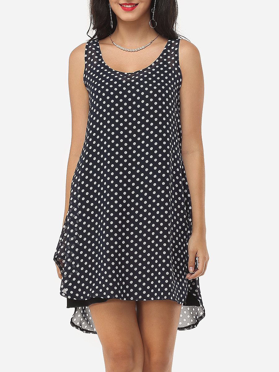 Polka Dot Round Neck Shift Dress