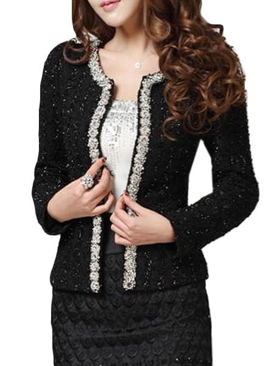 Patchwork Beading Graceful Blazers