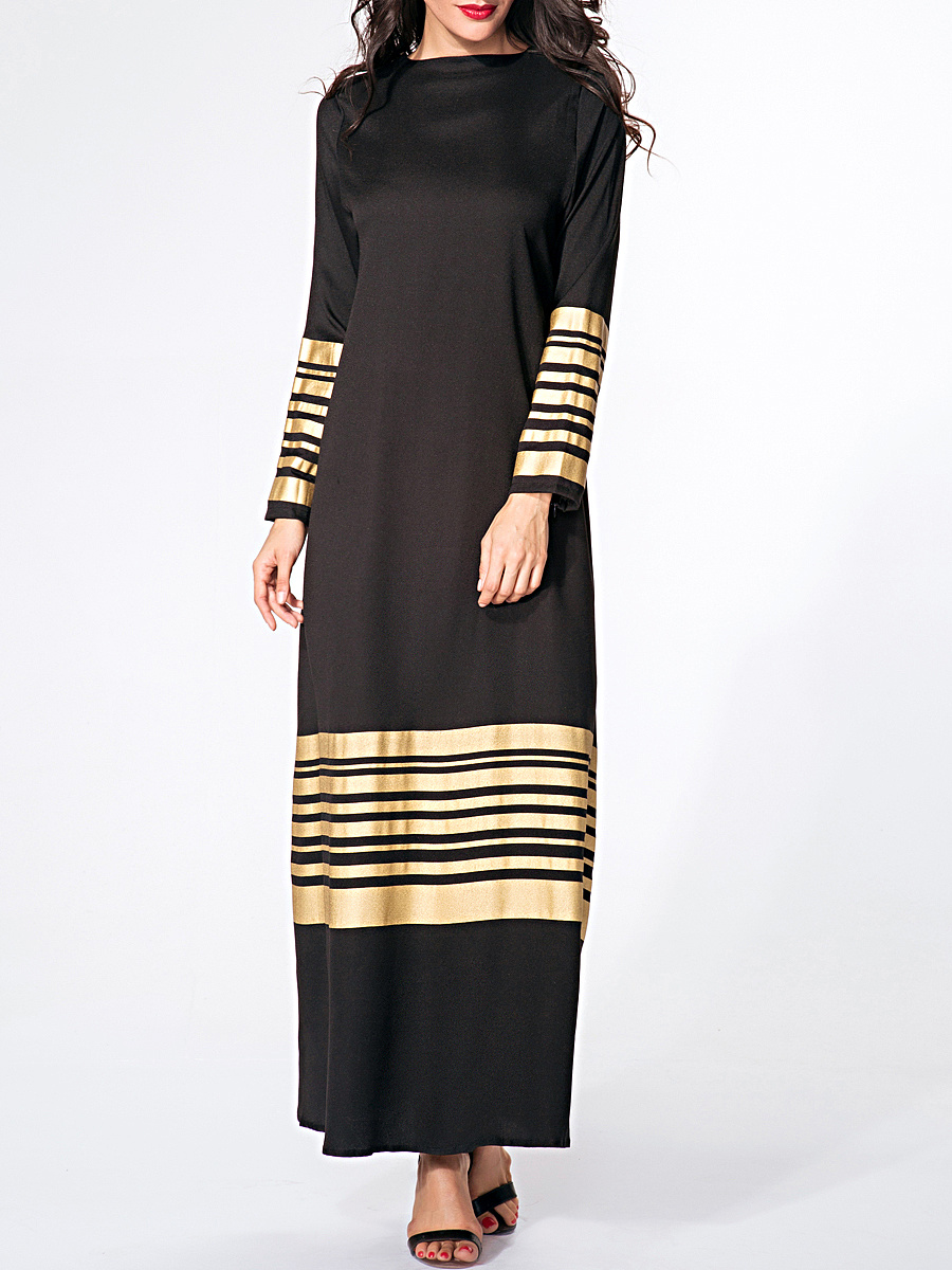 Crew Neck Printed Striped Maxi Dress