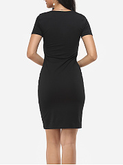 Plain Sexy V Neck Bodycon-dress