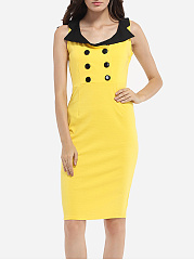 Lapel Dacron Color Block Bodycon-dress