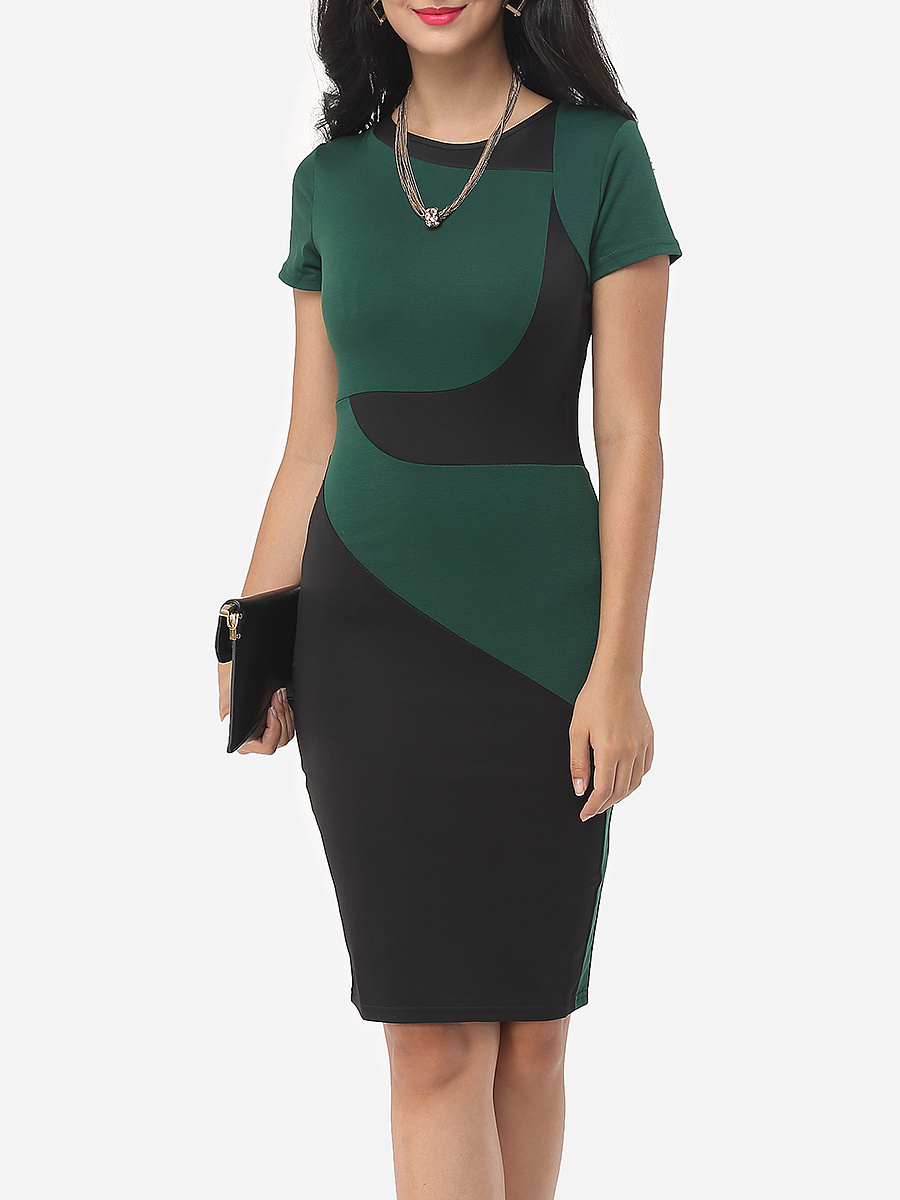 Geometric Patchwork Classical Crew Neck Bodycon-dress
