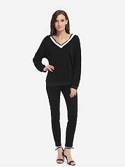 Assorted Colors Loose Fitting Awesome V Neck Long-sleeve-t-shirt