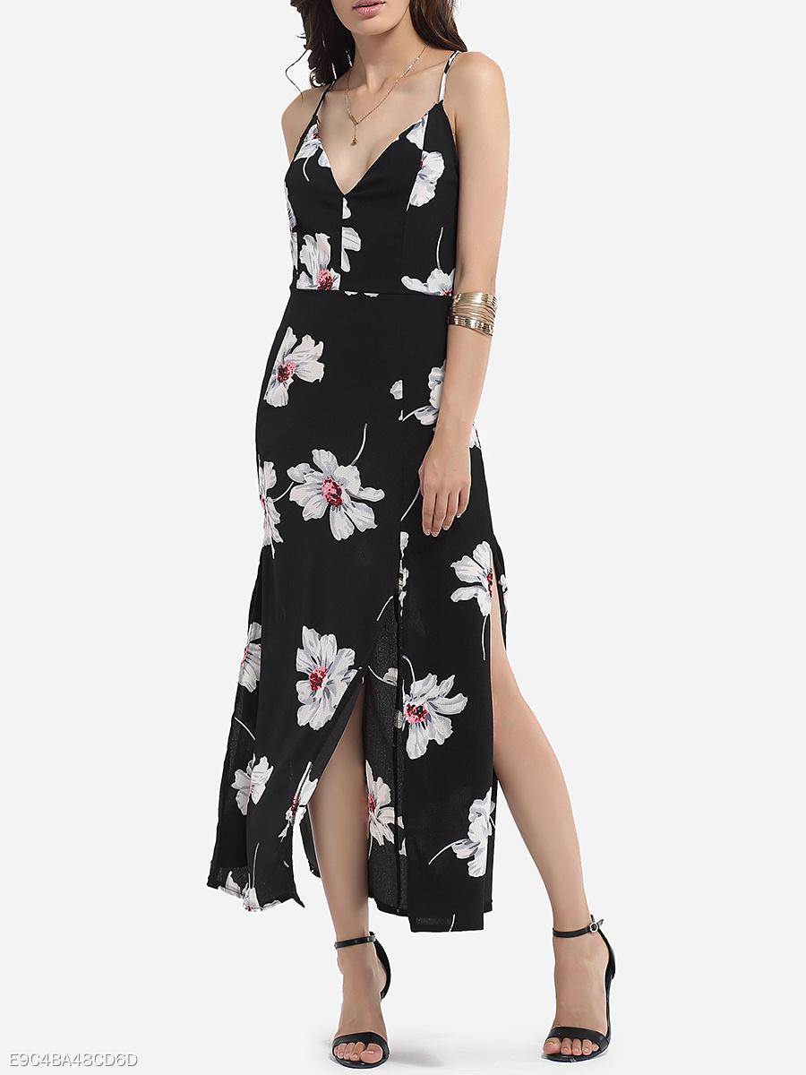 Cross Straps V Neck Dacron Floral Printed Maxi-dress