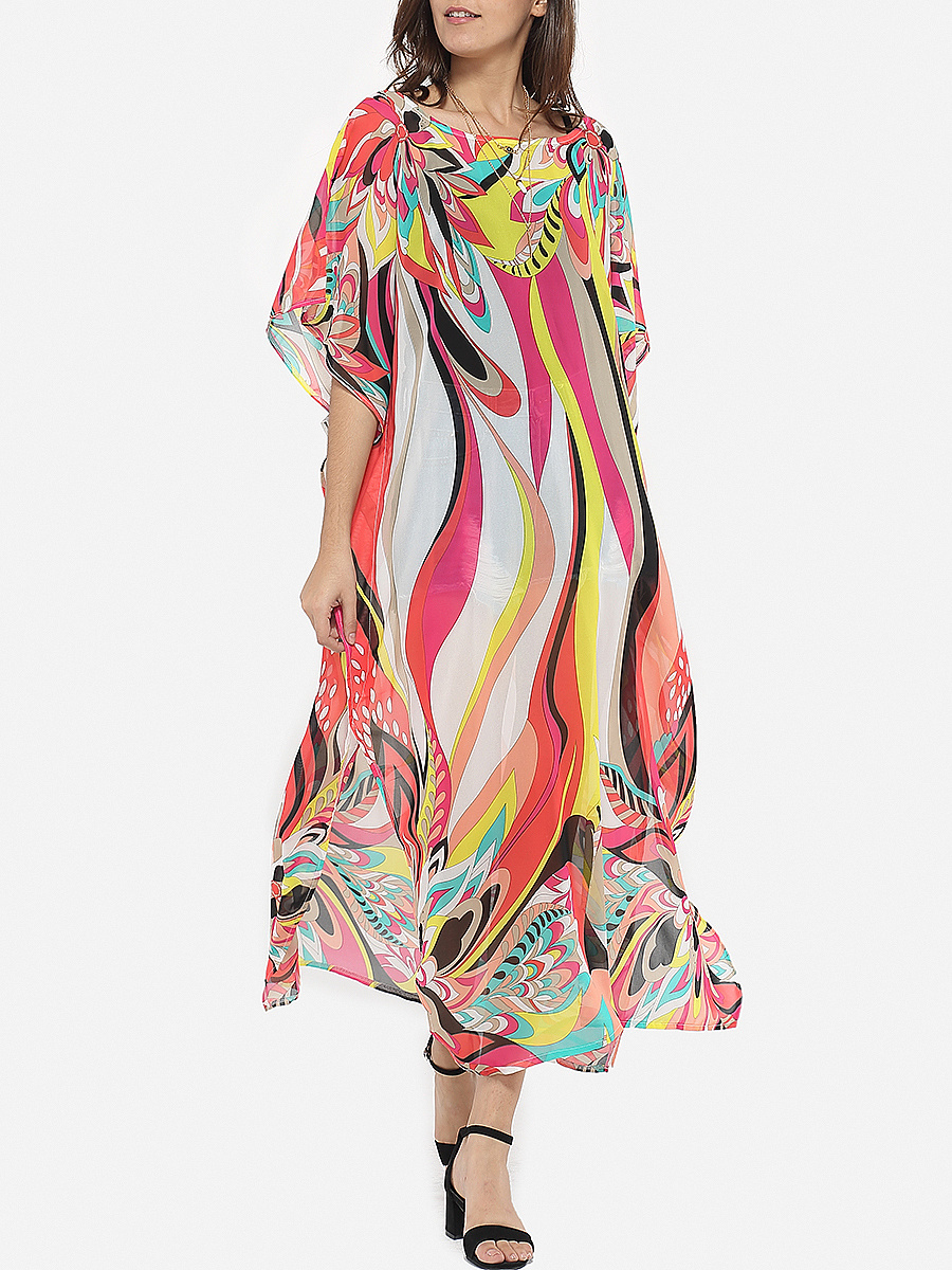 Loose Colorful Printed Chiffon Batwing Sleeve Maxi Dress
