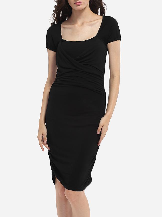 Fashionmia Square Neck Dacron Plain Bodycon-dress