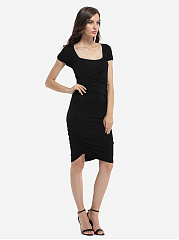 Square Neck Dacron Plain Bodycon-dress