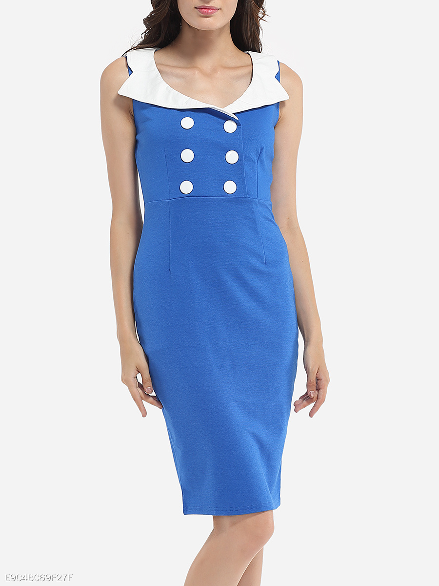 Decorative Buttons V Neck Dacron Color Block Bodycon-dress