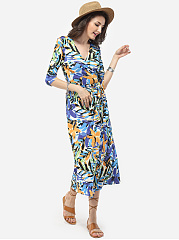 V Neck Dacron Printed Split Maxi-dress