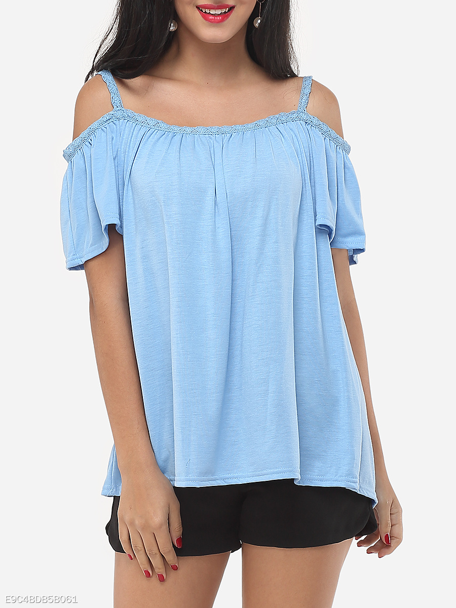 Plain Loose Fitting Exquisite Off Shoulder Casual-t-shirt
