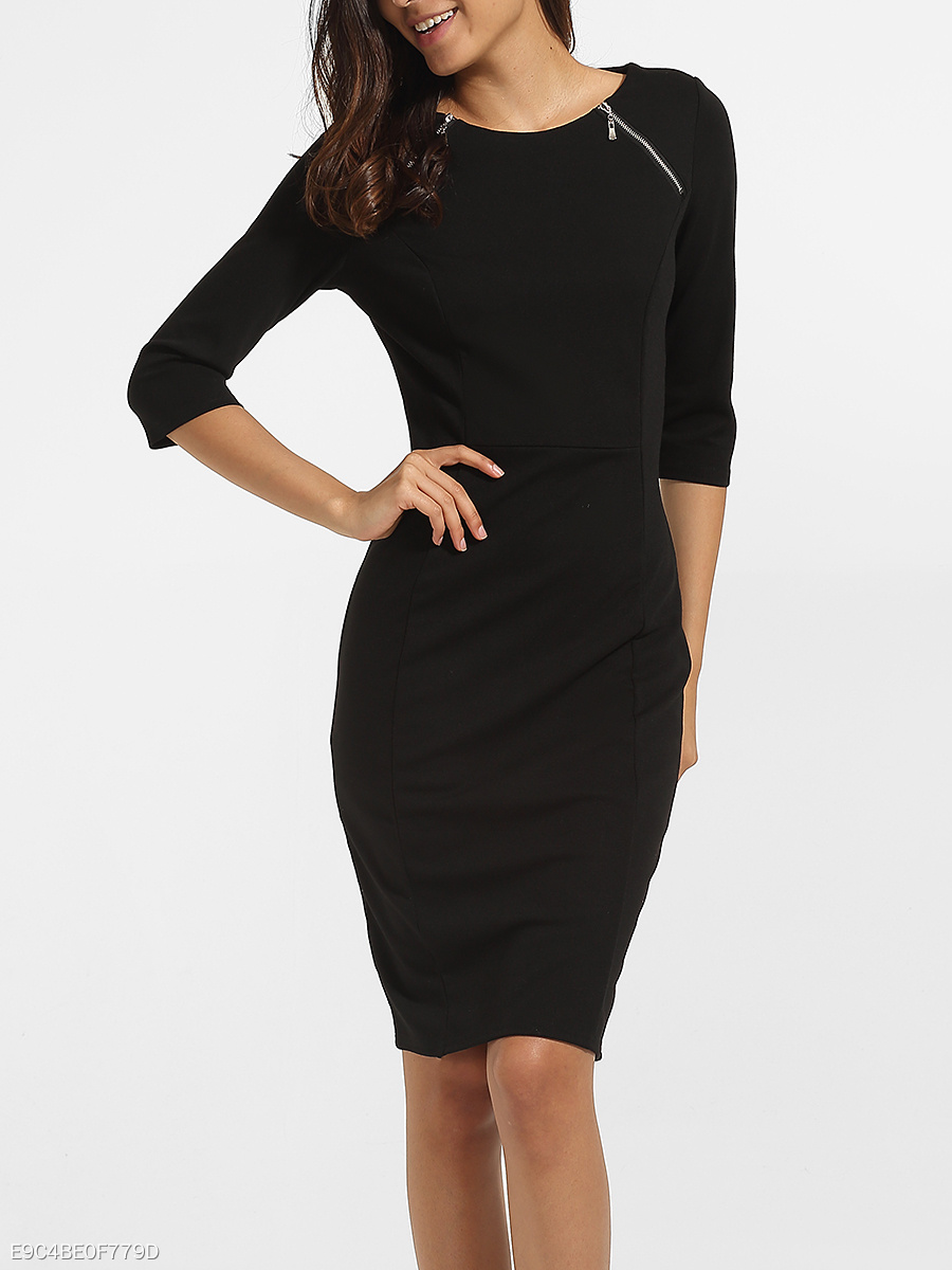 Zips Round Neck Cotton Plain Split Bodycon Dress