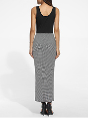 Scoop Neck Dacron Printed Striped Maxi-dress