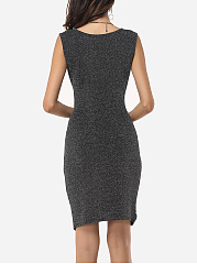 Plain Split Modern Round Neck Bodycon-dress