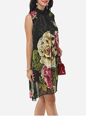 Floral Printed Courtly Shift Dress
