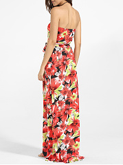 Tube Dacron Floral Printed Maxi Dress
