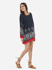 Loose Fitting Round Neck Dacron Printed Shift-dress