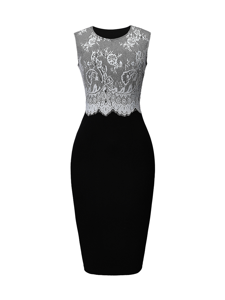 Elegant Round Neck Decorative Lace Bodycon Dress