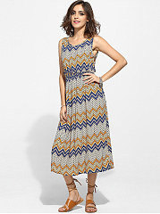 Round Neck Chiffon Zigzag Striped Maxi-dress