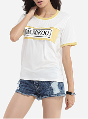 Round Neck Cotton Assorted Colors Letter Printed Short-sleeve-t-shirt