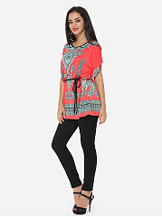 Spring Summer  Polyester  Women  Round Neck  Tribal Printed Short Sleeve T-Shirts