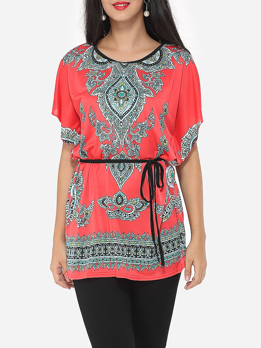 Paisley Printed Batwing Extraordinary Round Neck Short-sleeve-t-shirt