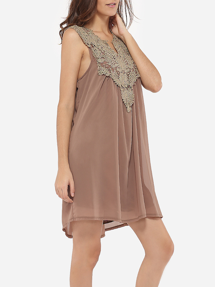 Loose Fitting Sweet Heart Chiffon Lace Hollow Out Patchwork Shift-Dress