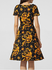 Boat Neck Printed Skater Dress