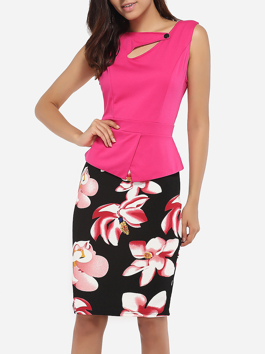 Single Button Asymmetric Neckline Cotton Color Block Floral Hollow Out Printed Bodycon-dress
