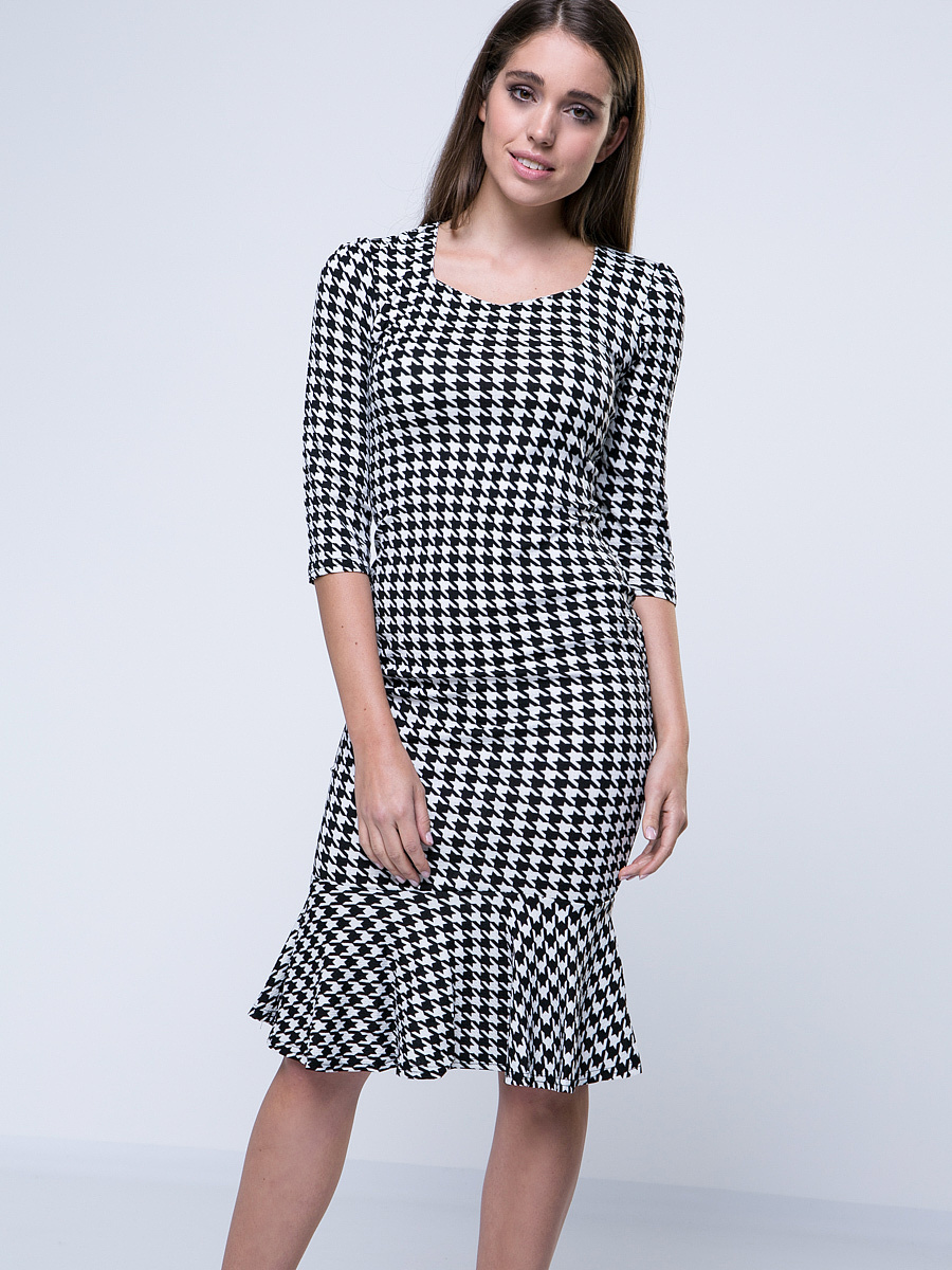 Mermaid Round Neck Houndstooth Bodycon-Dress