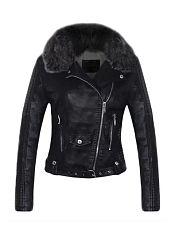 Plain-Faux-Fur-Collar-Zipper-Designed-Lapel-Jackets