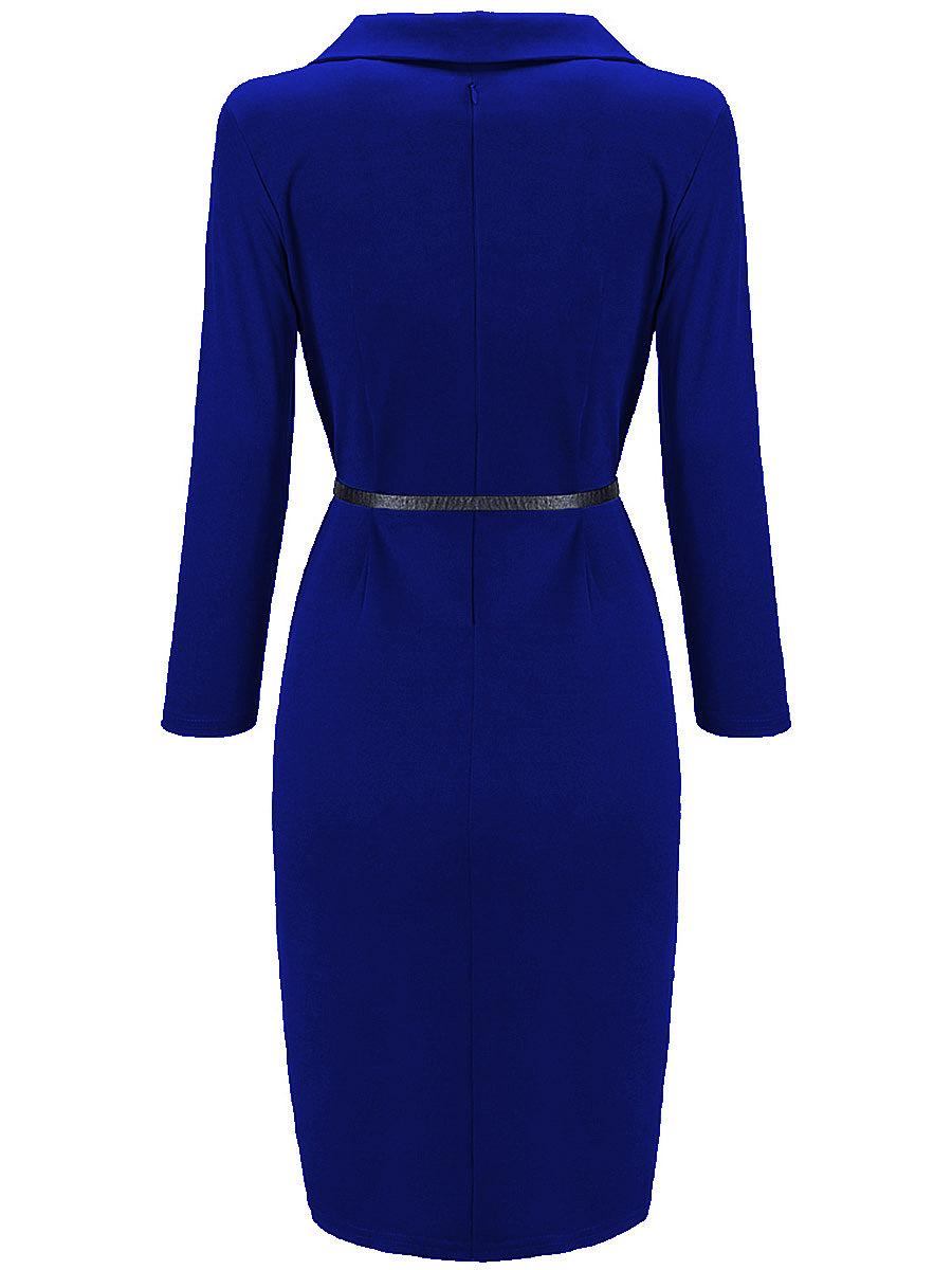 Office Lapel Belt Solid Bodycon Dress