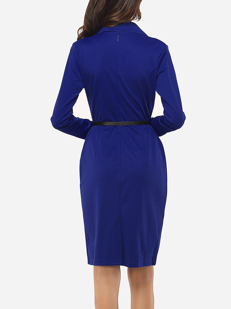 Office Lapel Belt Solid Bodycon Dress. Office ...
