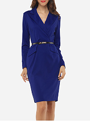 Office Lapel Belt Solid Bodycon Dress