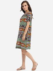 Round Neck Linen Geometric Printed Striped Shift-dress